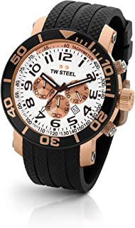 TW Steel Men's Quartz Watch Chronograph Display and Rubber Strap, TW-TW77