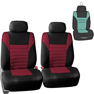 FH Group FB068102 Premium 3D Air Mesh Seat Covers Pair Set (Airbag Compatible) w. Gift, Burgundy/Black Color- Fit Most Car, Truck, SUV, or Van