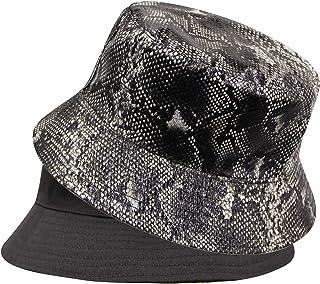 JUMISEE ذات وجهين جلد الثعبان دلو قبعة الأزياء قبعة الشمس قبعة الصياد للرجال النساء