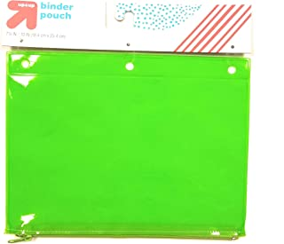 See-Through Jelly Zippered Binder Pencil Pouch (Neon Green)