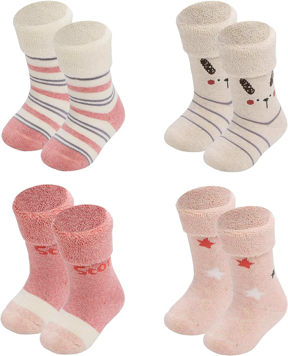 Human Feelings Baby 4 Pack 6-12 Special price for a limited time newborn Months thick Surprise price socks Terry