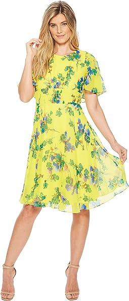 Floral Print Flutter Sleeve Chiffon A-line CD8H22JN