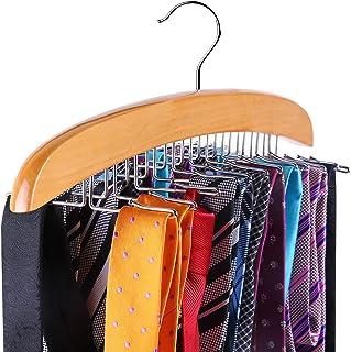 Ohuhu Tie Rack, Wooden Tie Organizer, 24 Tie Hanger Hook Storage Rack, Closet Accessory..