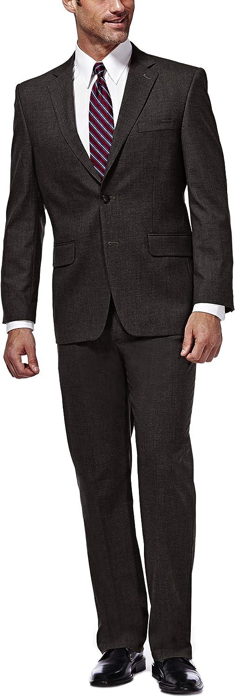 Haggar Men's J.M. Premium Performance Stretch Stria 2-Button Suit Separate Coat, Chocolate, 40S with Plain Front Suit Separate Pant, Chocolate, 34Wx29L
