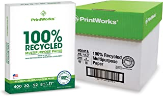 Printworks 100 Percent Recycled Multipurpose Paper, 20 Pound, 92 Bright, 8.5 x 11 Inches, White, 6 Reams 2400 sheets (00018C)