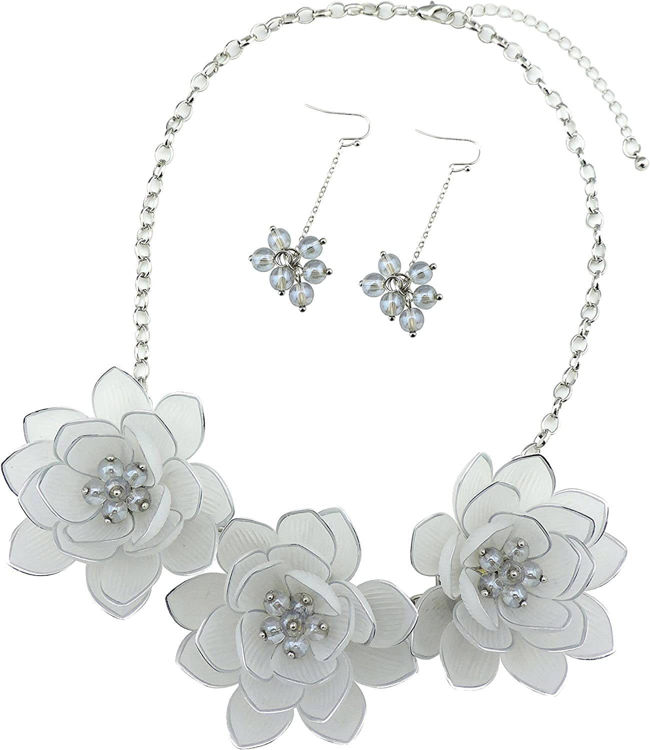 BOCAR Bib Statement Pendant Flower Jewelry Set Necklace and Earrings for Women Gift (NK-10372-white)