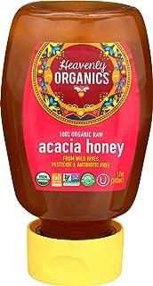 Heavenly Organics 100% Organic Raw Acacia Honey (12 oz Squeeze Bottle) Made from Wild Beehives & Free Range Bees; Dairy, Nut, Gluten-Free, Kosher