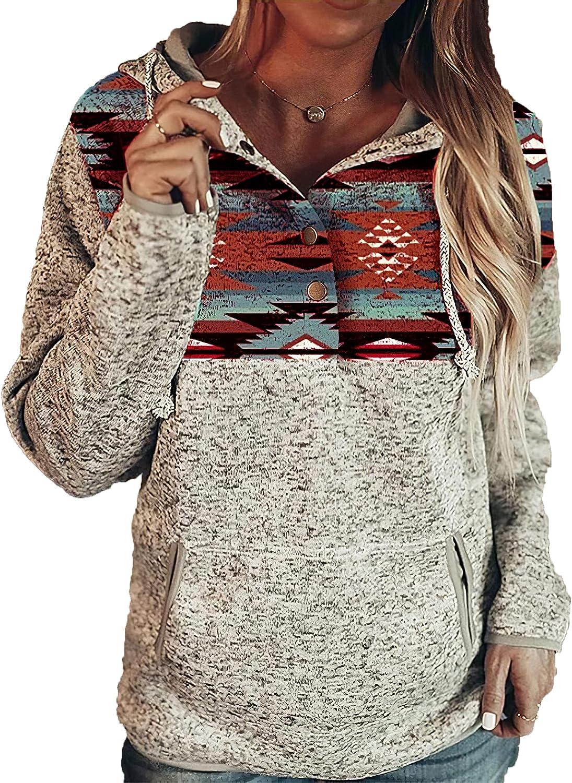 Women's Western Aztec Print Hoodies Casual Geometric Printed Drawstring Pullover Sweatshirts with Pockets