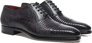 Magnanni Men's Lizard Leather Oxford Shoes Grey