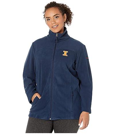 Columbia College Plus Size Illinois Fighting Illini CLG Give and Gotm II Full Zip Fleece Jacket (Collegiate Navy) Women