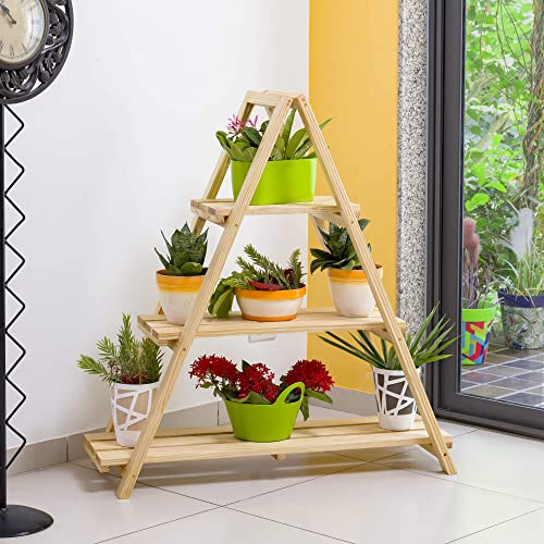 Sharpex A-Frame Wooden Plant Stand (Brown)