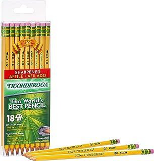 TICONDEROGA Pencils, Wood-Cased, Pre-Sharpened, Graphite #2 HB Soft, Yellow, 18-Pack (13818)