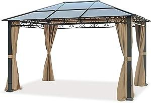 TOOLPORT Pavillon de Jardin Pavillon ALU Deluxe imperméable de 3x4 m avec Tente de réception à 4 côtés en Toit en PC translucide Bronze