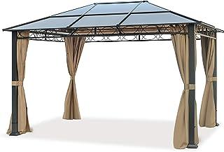 TOOLPORT Cenador de jardín 3x4 m Impermeable ALU Deluxe con 4 Partes Laterales Carpa Party en Techo de Bronce translúcido PC
