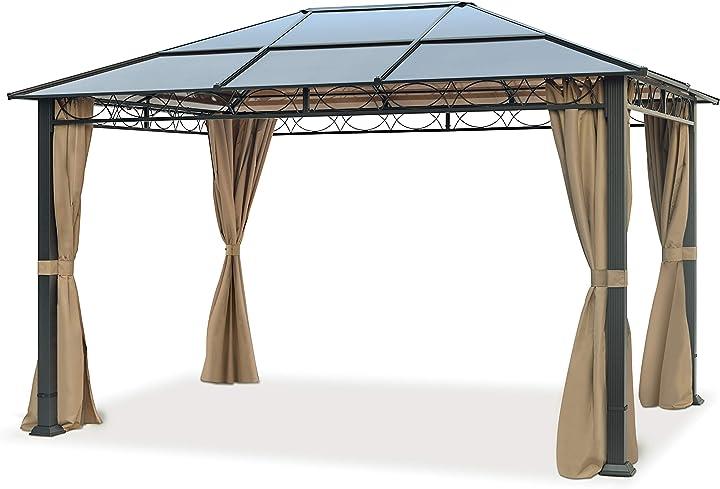 Gazebo da giardino 3x4 m con 4 teli laterali – gazebo color ocra – tetto in lastre di policarbonato 6367933XQ353603000MINI