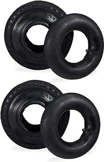 """Relaxdays 2 x steekwagenbanden met slang, reservebanden 3,00-4"""" voor steekwagen, noppenprofiel, 125 kg, 260x85mm, zwart"""