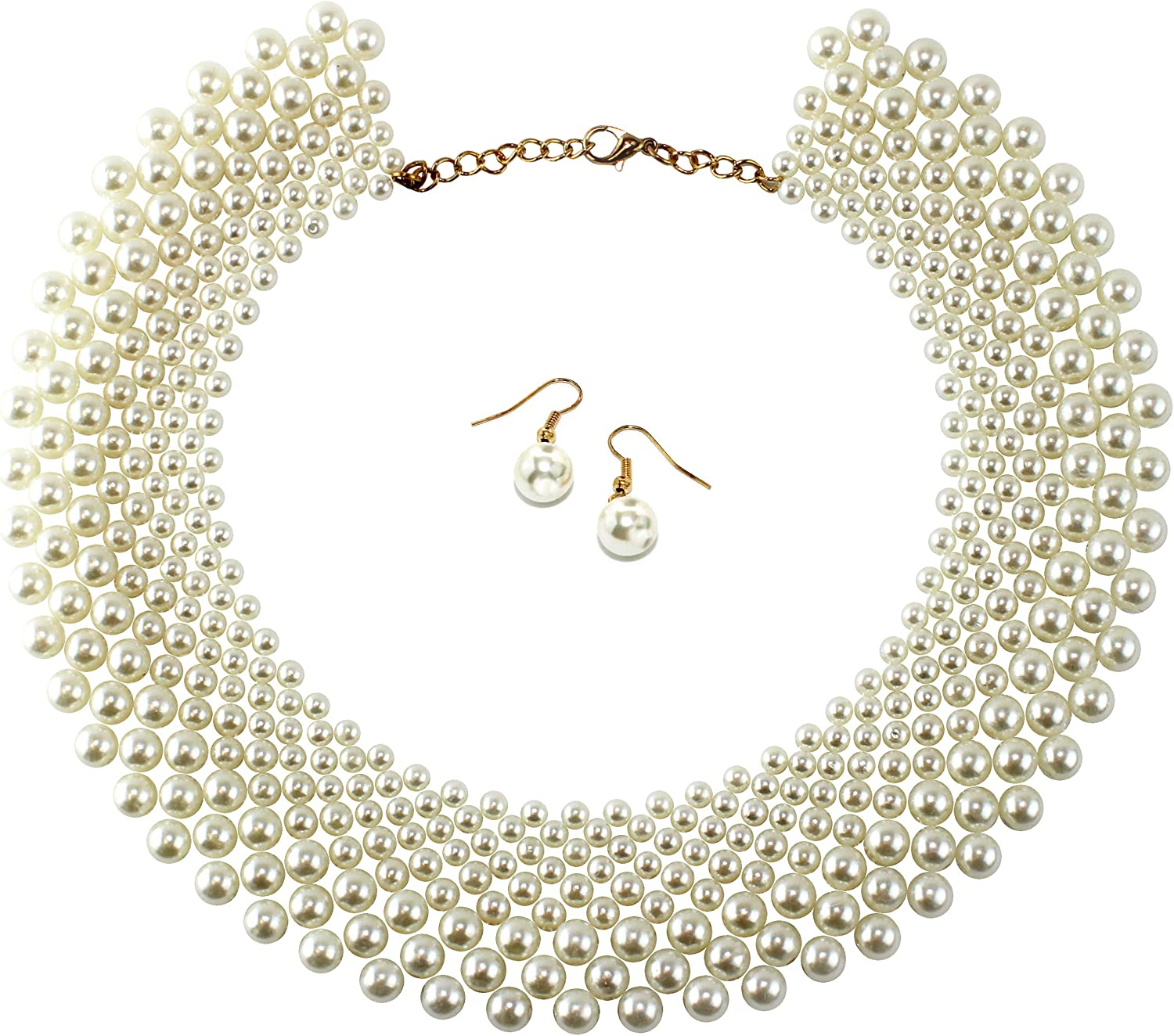 UrbanMixNY Woven Cream Color Simulated Pearl Bead Collar Choker Necklace Set