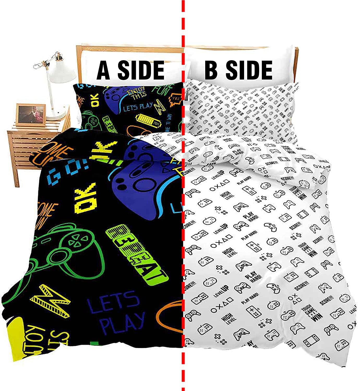 Feelyou Gaming Bedding latest half Set for Kids Queen Boys Room Gamer D Size