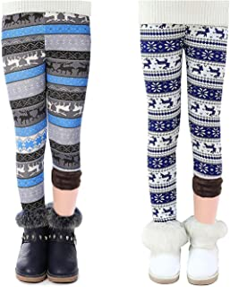 MODNTOGA 2-Pack Girl Winter Thick Printing Fleece Lined Legging Tight Warm Pant 2-10 Years