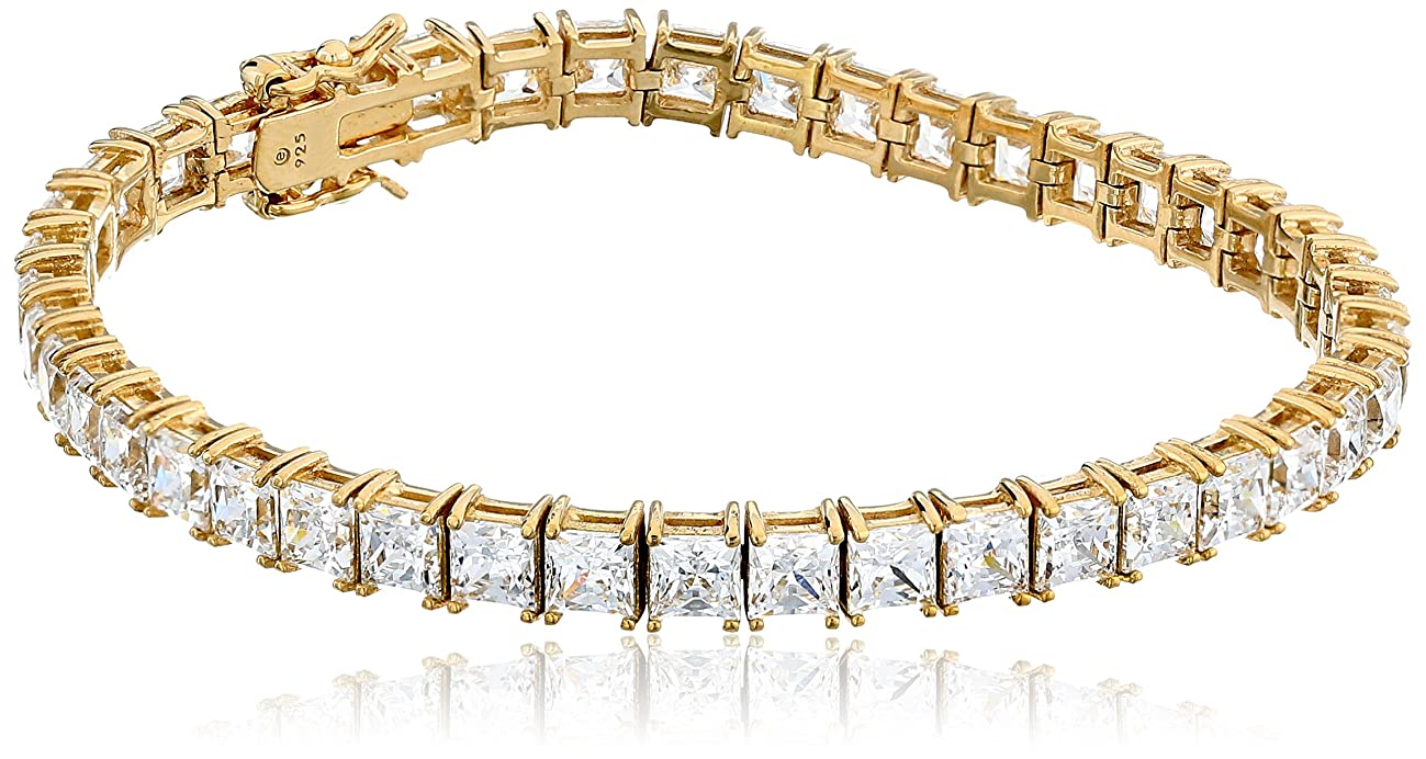Platinum or Gold Plated Sterling Silver Princess-Cut Tennis Bracelet made with Swarovski Zirconia, 7.25