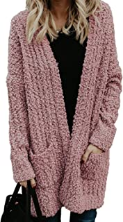 Womens Comfy Open Front Long Sweater Cardigans Soft Oversized Popcorn Knitted Pullover Tops Outwear with Pocket