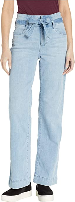High-Rise Light Indigo Belted Wide Leg Jeans in Oasis Blue