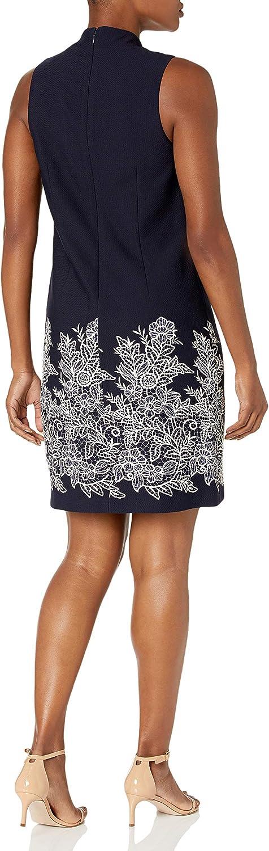 Jessica Howard Women's Mandarin Collar Button Sheath Dress
