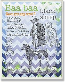 The Kids Room by Stupell Baa Baa Black Sheep Nursery Rhyme on Blue Chevron Background Rectangle Wall Plaque