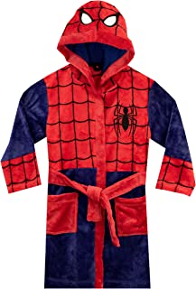 Image of Blue and Red Hooded Spider Man Robe for Boys