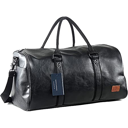 seyfocnia Leather Travel Bag with Shoe Pouch, Waterproof Weekender Overnight Bag, Large Carry On Duffel Bag for Men Women-Black