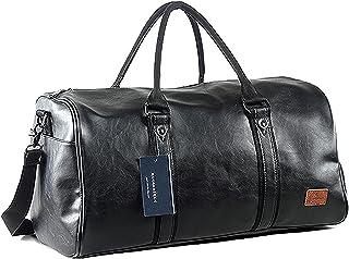 حقيبة سفر كبيرة الحجم من القماش الخشن مع حقيبة أحذية، حقيبة جلدية للحمل, , أسود - 43237-132829