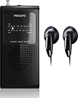Philips AM FM Battery Operated Portable Pocket Radio, AM FM Compact Transistor Radios Player with Bonus Philips in-Ear Hea...