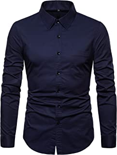 Sponsored Ad - VANCOOG Men's Long Sleeve Casual Button Down Dress Shirts with Chest Pocket