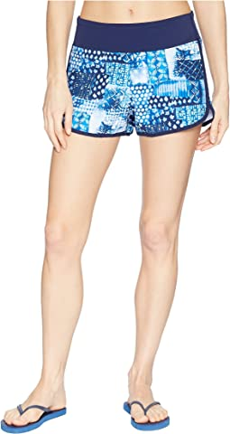 Active Patchwork Pull-On Shorts Cover-Up