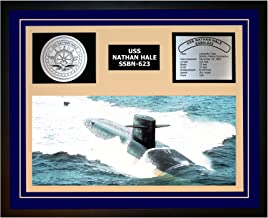 Navy Emporium USS Nathan HALE SSBN 623 Framed Navy Ship Display Blue