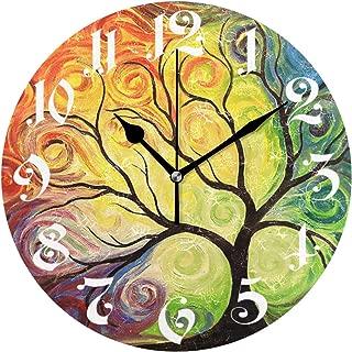 Wamika Wall Clock Tree of Life Rainbow Branch Leaves Seasonal Flowers Round Clock Silent Non Ticking Decorative, Spring Summer Autumn Floral Clocks 10 Inch Battery Operated Quartz Quiet Desk Clock