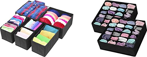 Simple Houseware 6 Set Cloth Storage Drawer Divider + 24 Cell Socks Drawer Divider, Black