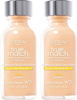 L'Oreal Paris Cosmetics True Match Super-Blendable Foundation Makeup, Nude Beige W3, 2 Count