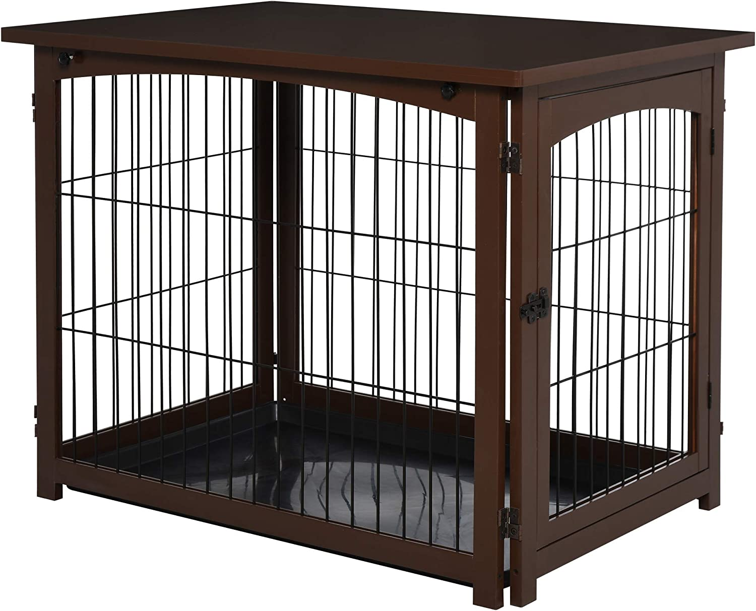 PawHut Easy-to-use Wooden Decorative Dog Cage Pet High quality new Side Tabl Crate with Fence