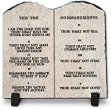 InspiraGifts The Ten Commandments Religious Inspirational Christian Home Plaque Stone Gift, 7.8-Inch-by-7.8-Inch, King James Version