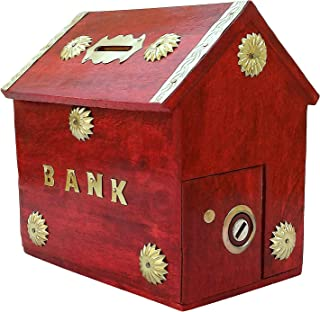 Unique Arts red Wooden Piggy Bank