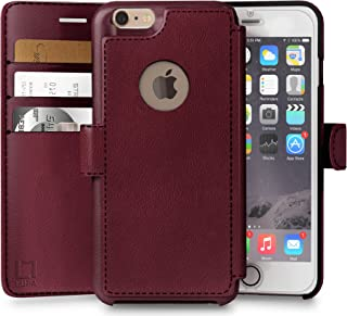 iPhone 6 Plus,6s Plus Wallet Case | Durable and Slim | Lightweight with Classic Design & Ultra-Strong Magnetic Closure | Faux Leather | Burgundy | Apple 6/6s Plus (5.5 in)