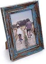 إطار صورة يوضع على الأسطح بمظهر خشبي قديم ومزخرف من سي تي جي، مقاس 10.16 سم × 15.24 سم، باللون الأزرق