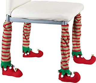 Christmas Chair Leg Covers - 4-Pack Elf Stockings and Shoes Design, Holiday Themed Dining Chair and Table Decoration, Party Accessories, Red and Green, 17.5 x 3.4 Inches