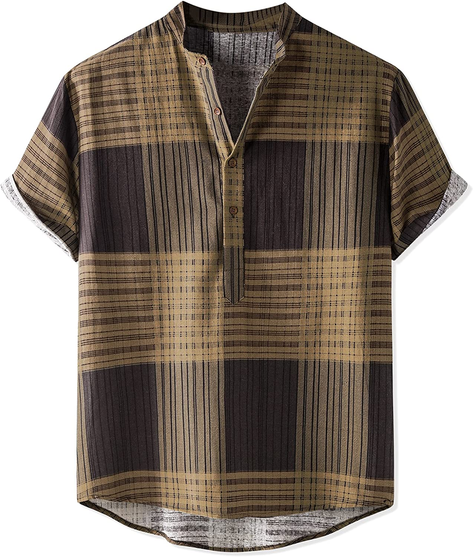 National uniform free shipping Lars Amadeus Men's Linen Henley Shirt Band Sleeve 5 ☆ very popular B Collar Short
