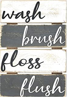 Farmhouse Bathroom Wall Decor - White And Grey -10x15 - Rustic Wash Brush Floss Flush Sign, Unique Hanging Wooden Signs, V...
