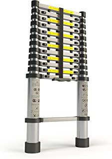 Aluminum 12.5 FT Telescoping Ladder Extendable Multi-Purpose: Finger Protection Spacers, Slip-Proof Feet, Portable Heavy D...