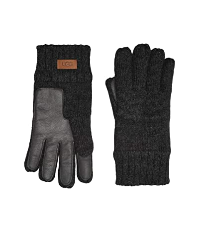UGG Knit Tech Leather Palm Gloves with Sherpa Lining (Charcoal) Extreme Cold Weather Gloves