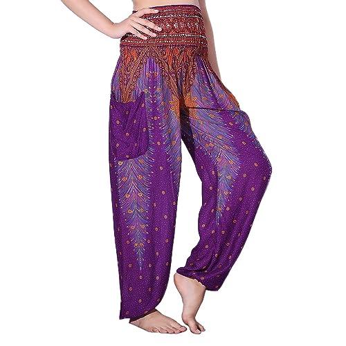 17f54084b0 CHRLEISURE Women s Boho Yoga Harem Pants Hippie Indian Gypsy Loose Peacock  Print Beach Pants