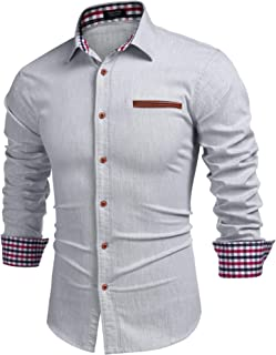 COOFANDY Men's Casual Long Sleeve Dress Shirt Denim Button Down Shirts